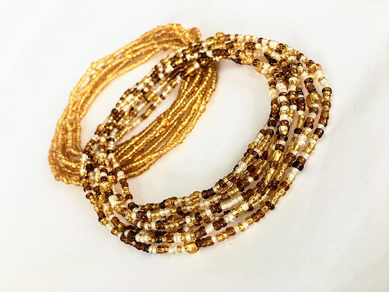 Stretchy Elastic String African Waist Beads Bracelet or Anklet 2 pcs Belly Bead Waist Beads Set Body Jewelry Wear as Necklace Waist chain Gold Brown and Cream Glass Seed Beads Belly Chain