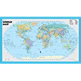 world wall map robinson projection poster size 21x36 rolled paper