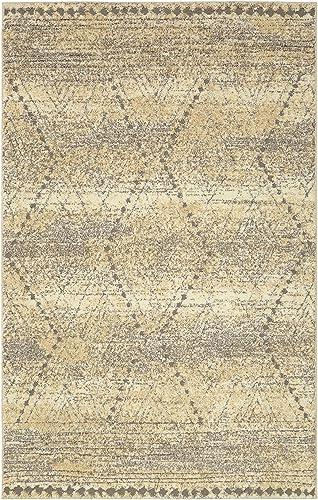 Mohawk Nomad Vado Tan Hi/ Low Geometric Diamond Woven Shag Area Rug
