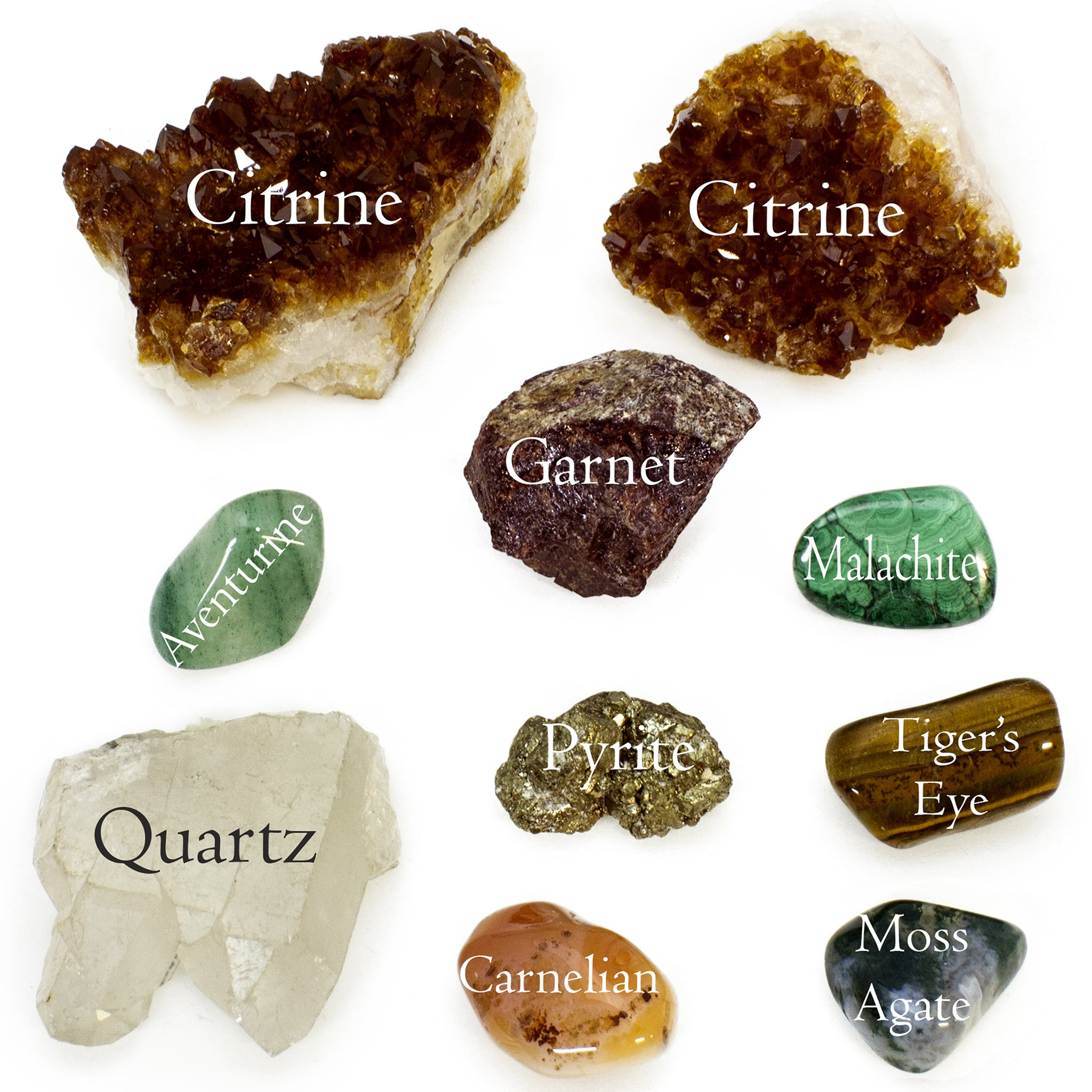 Success and Riches Bundle; 10pc Quality Handpicked Crystal Bundle; Stones for Attracting Luck, Wealth, and Prosperity, Determination, and Inspiring Passion; Gems with Natural/Raw and Tumbled Finishes by Generic