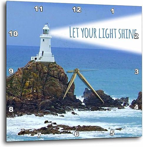 3dRose Let Lighthouse Shining Bright-Light House at sea Ocean-Inspiring Words Saying-Wall Clock, 15-inch DPP_155657_3