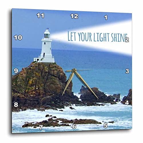 3dRose DPP_155657_1 Let Your Light Shine Lighthouse Shining Bright Light House at Sea Ocean Inspiring Words Saying Wall Clock, 10 by 10