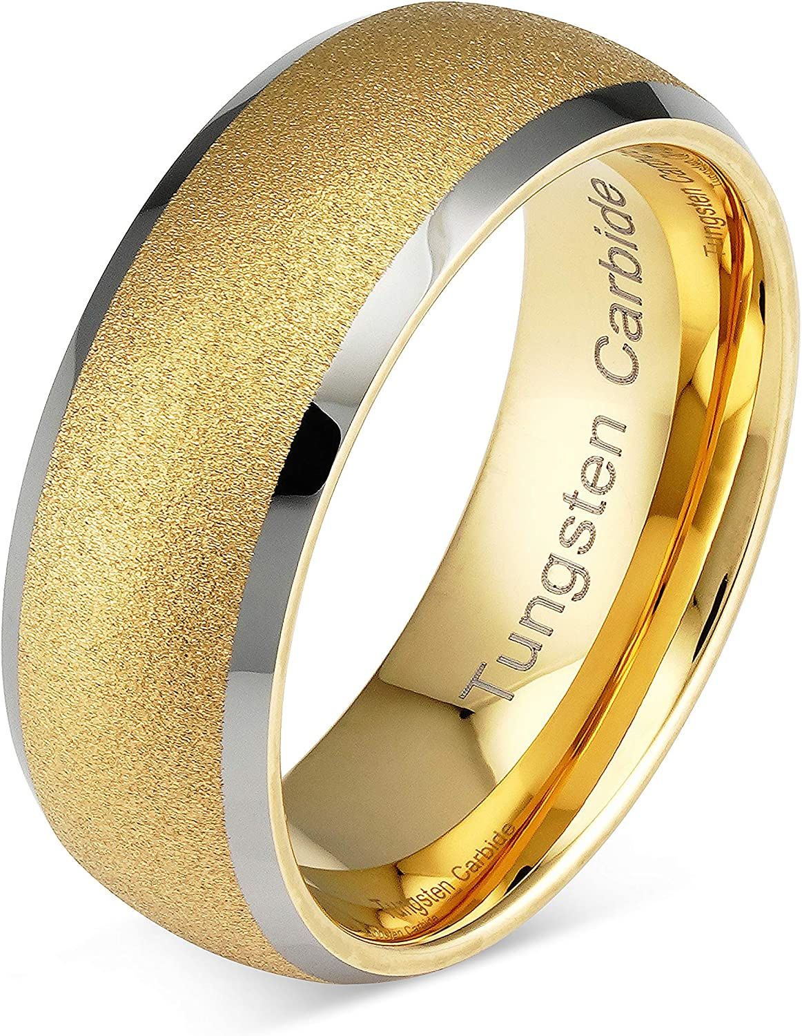 100S JEWELRY Tungsten Rings for Men Women Gold Wedding Band Sandblasted Silver Edge Sizes 6-16
