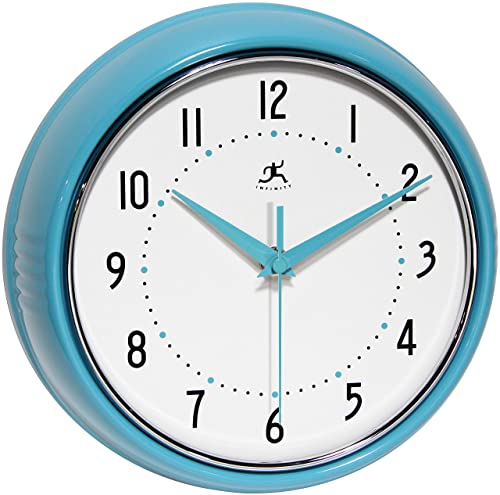 Infinity Instruments 10940-TQSE Turquoise Retro 9-1 2-Inch Metal Wall Clock