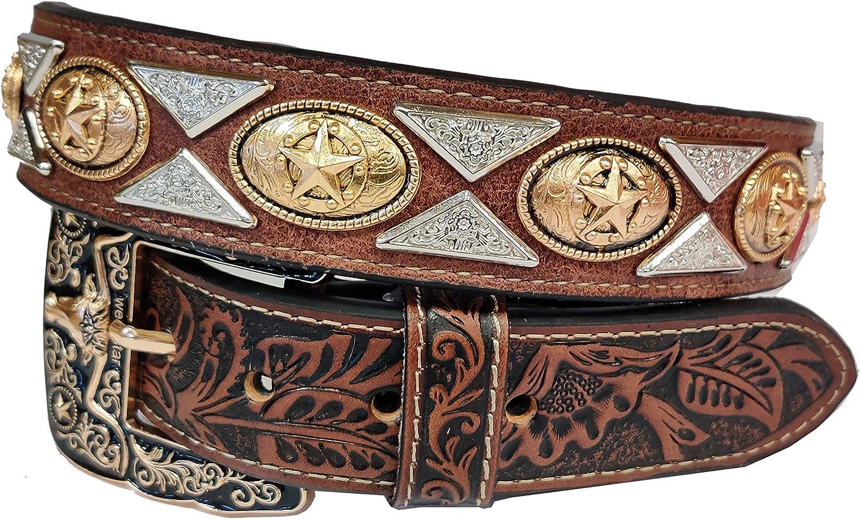 New Mens Western Cowboy Cowgirl Gold Horse Prayman Silver Tie Concho Shiny Leather Belt