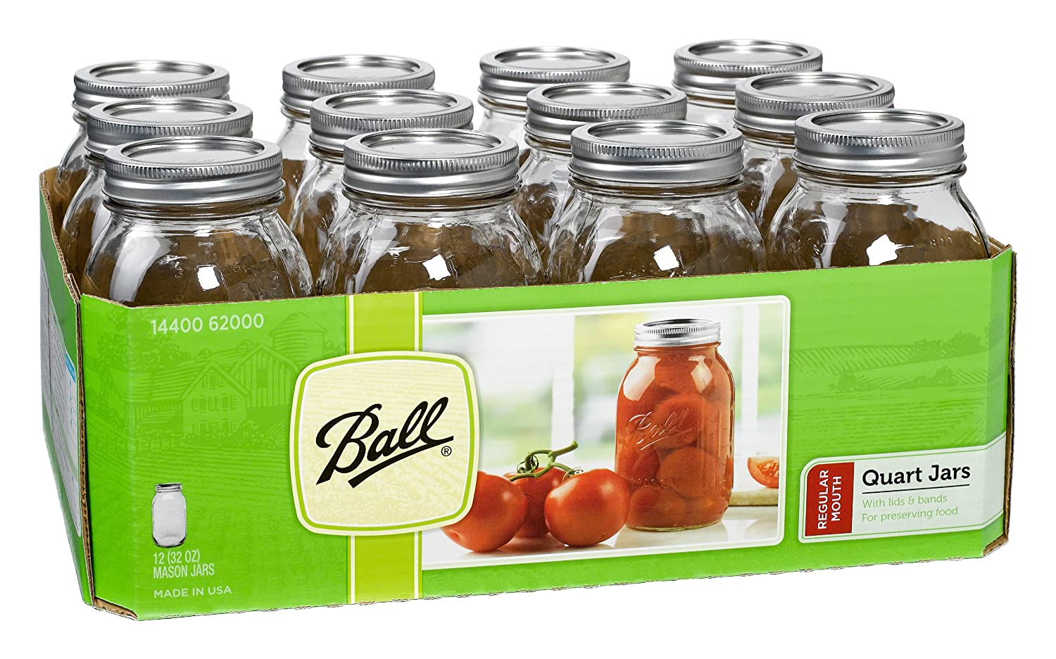 Worksheet Oz Quarts amazon com ball mason regular mouth quart jars with lids and bands set of 12 kitchen dining