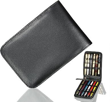 Black Leather Pen Case for 12 Pens Fountain Pen Rollerball Pen