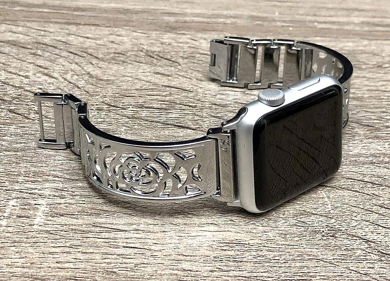 B07LD6C4WF Shiny Silver Bracelet For Apple Watch Band Women 42mm 44mm Flowers Design Bangle iWatch Band Bangle Adjustable Size iWatch Feminine Jewelry Bracelet Elegant Apple Watch Wristband 91LKH3e-k0L