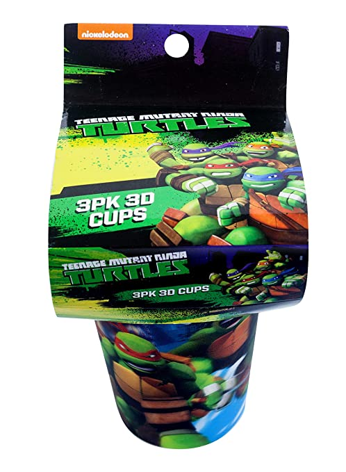 Best Brands Nickelodeon Teenage Mutant Ninja Turtles 3 pieces 3D Cups, Green