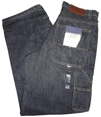 5ff39dda Tommy Hilfiger Men's Loose Fit Dark Denim Blue Carpenter Jeans, 31W x 32L  at Amazon Men's Clothing store:
