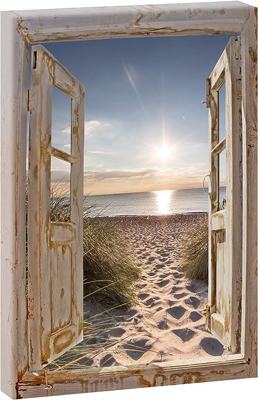 Querfarben Fensterblick Zum Strand 2 Panoramabild Im Xxl Format Poster Wandbild Fotografie Trendiger Kunstdruck Auf Leinwand