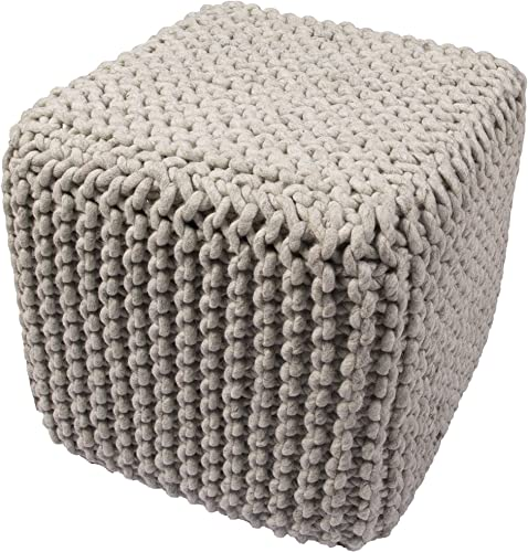 BOUCHERON Jaipur Solid Pattern Gray Wool Pouf
