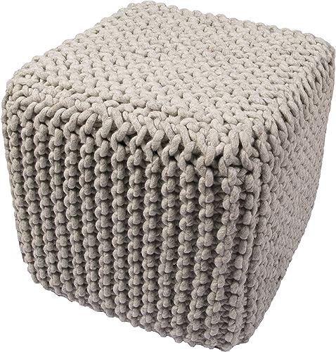 BOUCHERON Jaipur Solid Pattern Gray Wool Pouf, 16-Inch x 18-Inch x 18-Inch, Blue Indigo NATA