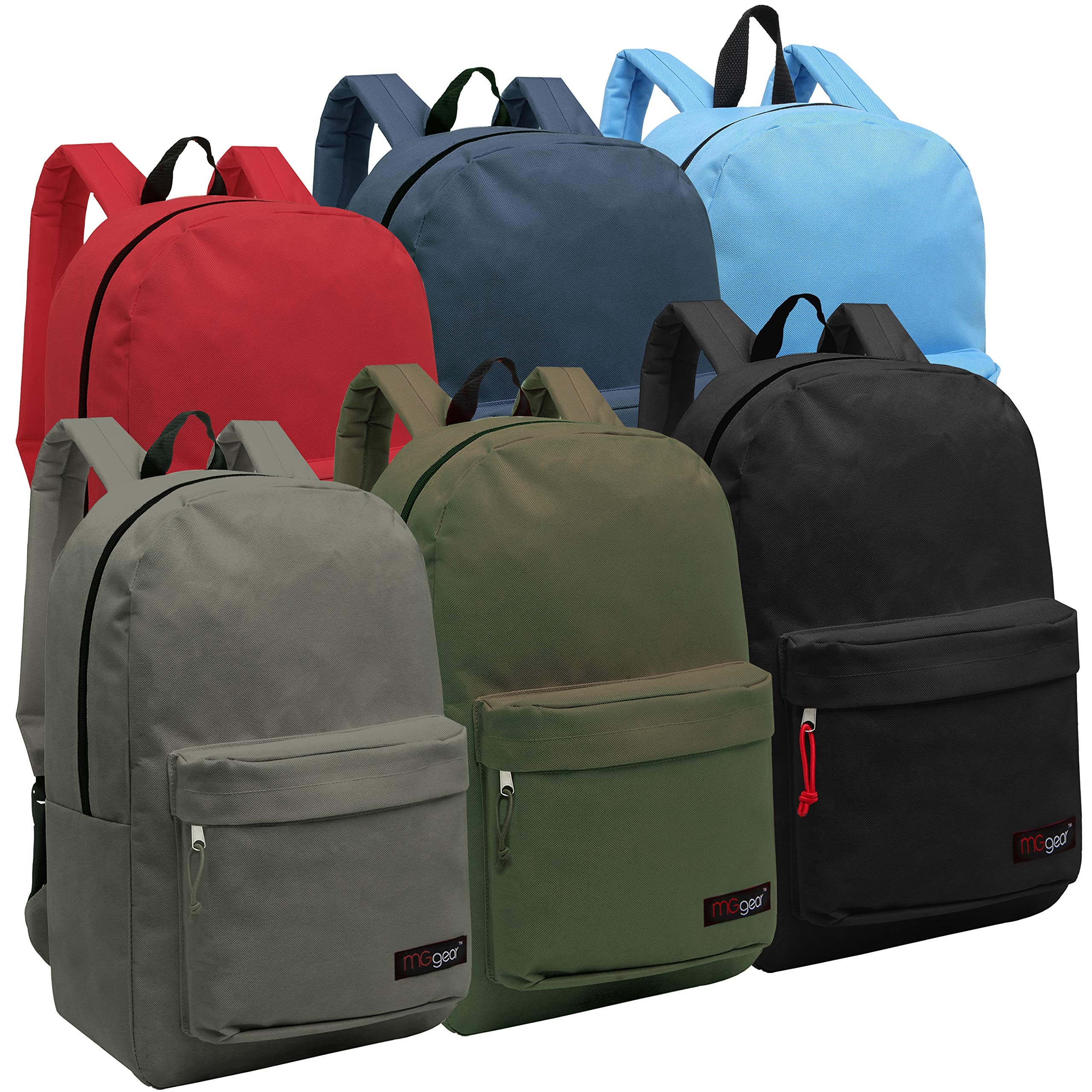 Wholesale 16.5 Inch Backpacks - Case of 24 Multicolored MGgear Bulk School Bags by MGgear