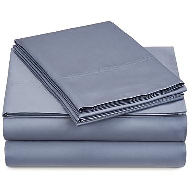Pinzon 500-Thread-Count Pima Cotton Sateen Sheet Set - Full, Flint Blue