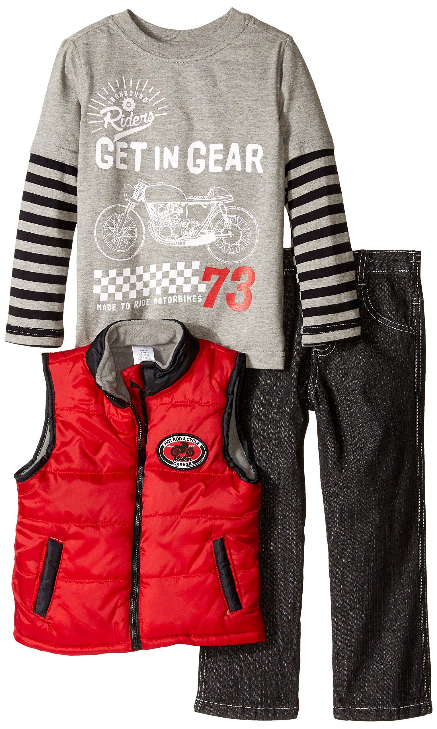 BoyzWear Little Boys' 3 Piece Cotton Get in Gear Vest Set, Red, 4
