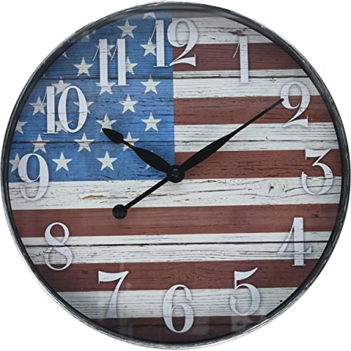 Westclox W32897AF 12 Inch American Flag Wall Clock, 12 Round, Multi Color