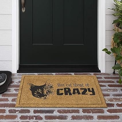 Mud Pie Crazy Cat Lady Door Mat Coir Doormat,