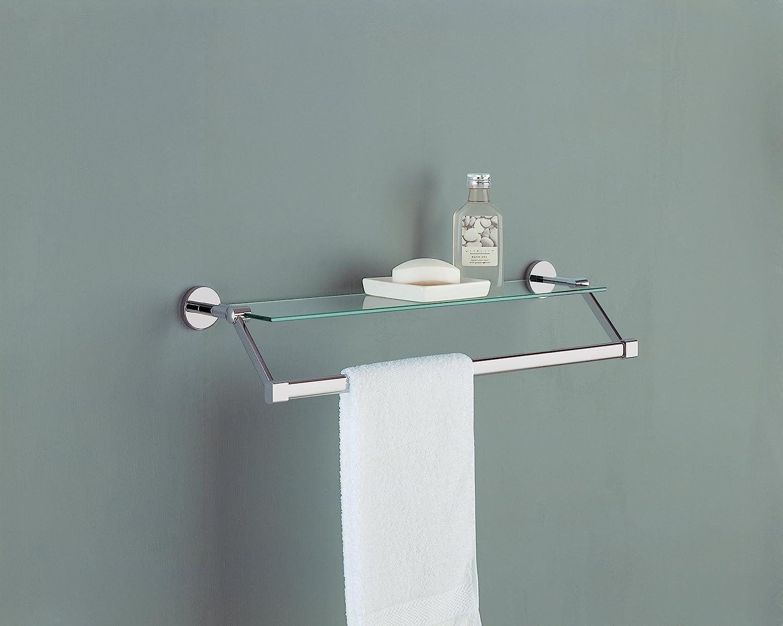 Amazon.com: Organize It All Bathroom Glass Shelf with Chrome Towel ...