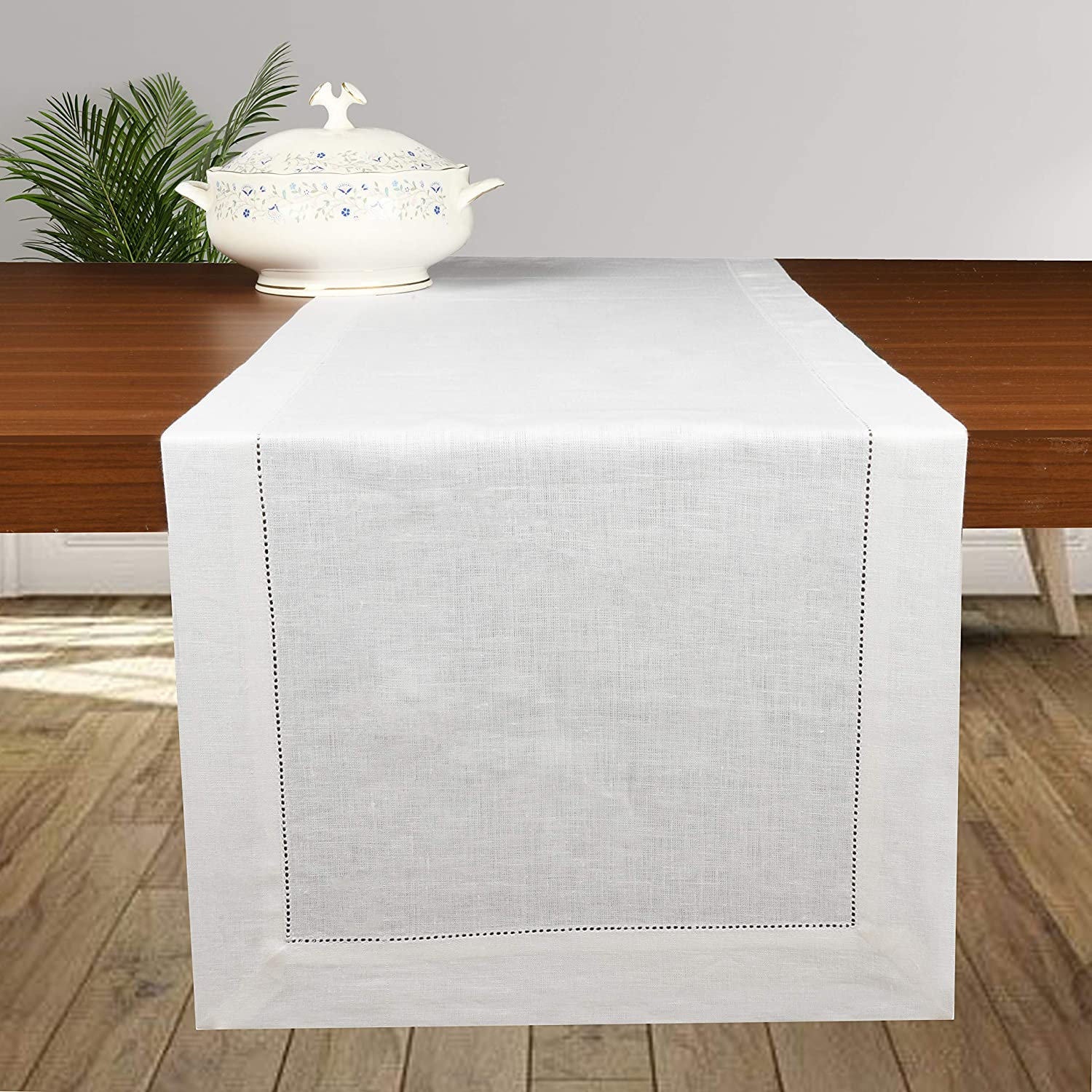 D'Moksha Homes 100% Pure Linen Table Runner/Dresser Scarf - 14 x 90 Inch, Handcrafted from European Flax, Machine Washable, Classic Hemstitch - White: Home & Kitchen