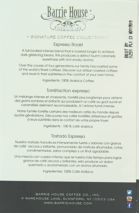 Barrie House Espresso Roast Single Cup Capsule, 96 Count: Amazon.com: Grocery & Gourmet Food