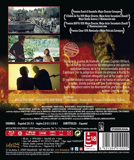 Apocalypse Now [Blu-ray]: Amazon.es: Marlon Brando, Robert Duvall ...