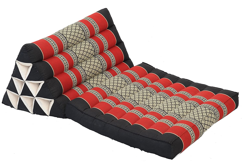 Thai Triangle Cushion 1-Fold, natural kapok filling, traditional Thai Fabric Burgundy & Black Handelsturm B001-tf-sr