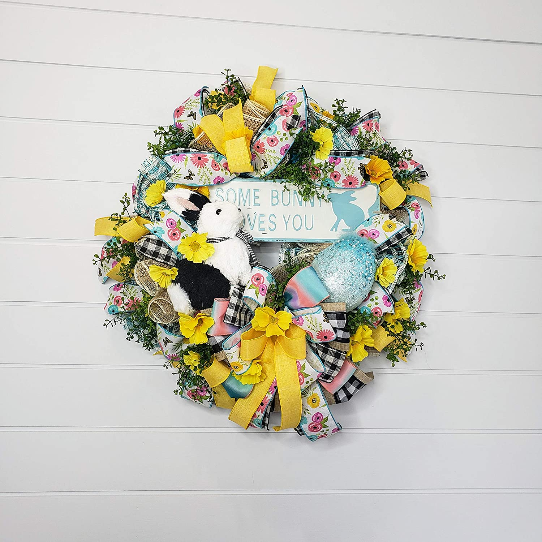 Door Wreath Front Door Wreath Egg Burlap Wreath Wreaths Easter Decor Easter Wreath Spring Wreath Easter Bunny Wreath Summer Wreath
