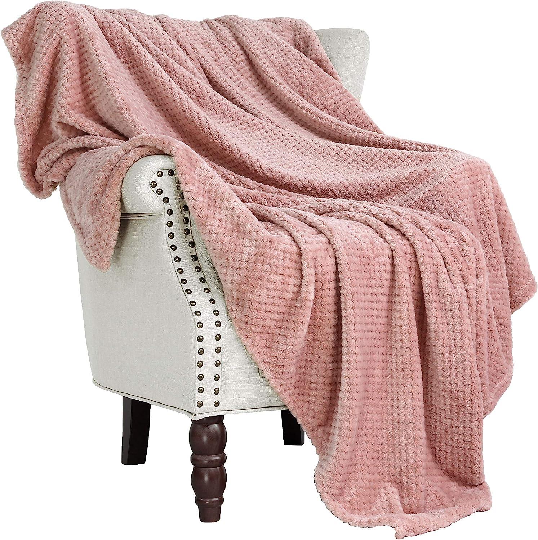 "Exclusivo Mezcla Waffle Flannel Fleece Velvet Plush Large Throw Blanket – 50"" x 70"" (Pink)"