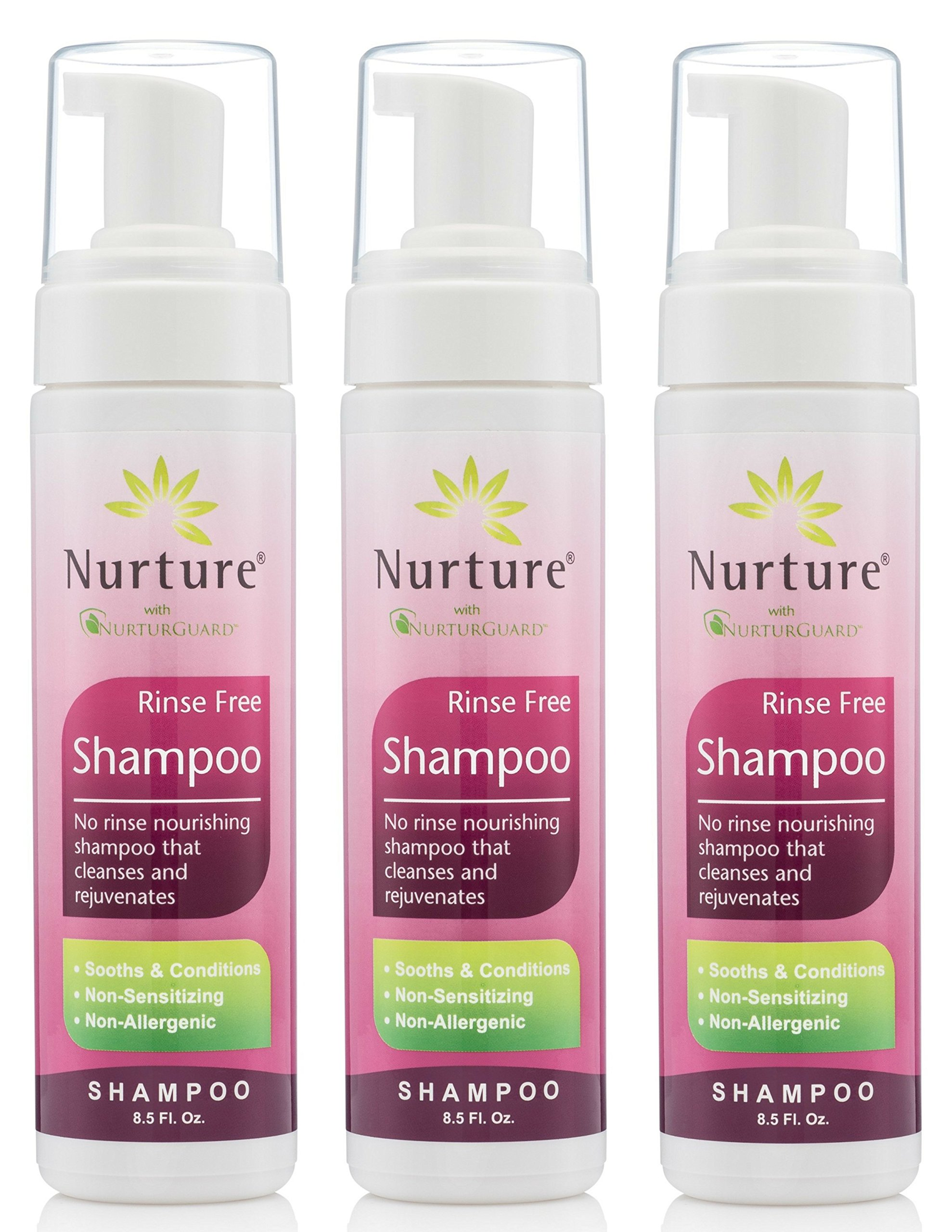No Rinse Shampoo by Nurture | Rinse Free Shower Cap Alternative - Foaming Pump Bottle - Waterless Nourishing Foam Shampoo That Cleanses and Rejuvenates - 3 Bottles - 8.5 fl oz Each by Nurture