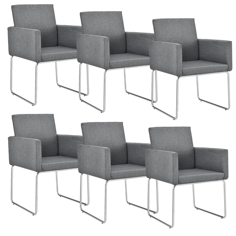 [en.casa]®] Set de 6 sillas de diseño - 82,5 x 54cm Gris Oscuro - Juego de sillas de Comedor