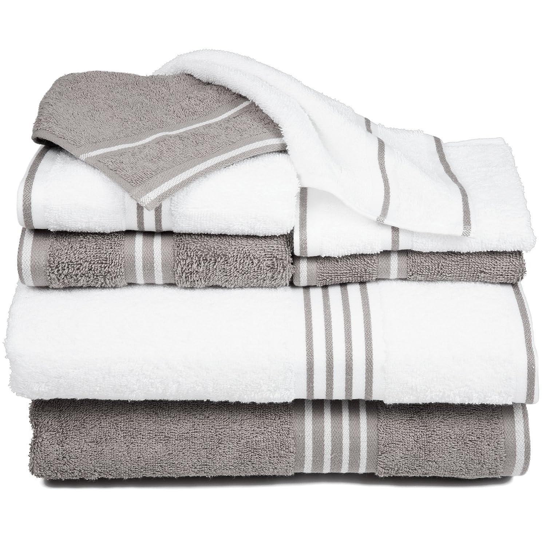 Lavish Home Rio 8 Piece 100/% Cotton Towel Set Black