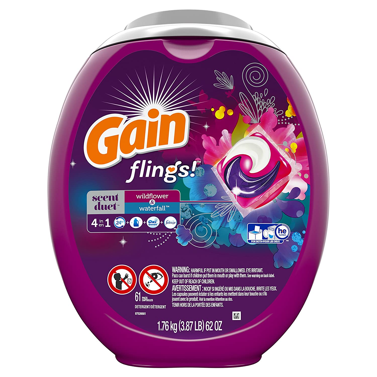 Gain Flings! Scent Duets Laundry Detergent Pacs, Wildflower/Waterfall, 61 Count by GAIN B01AQO9TD8