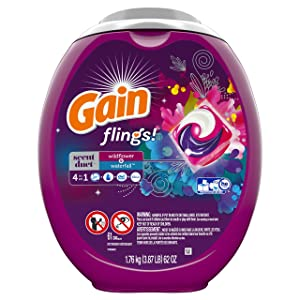 Gain Flings Scent Duets Laundry Detergent Pacs, Wildflower and Waterfall Scent, 61 Count