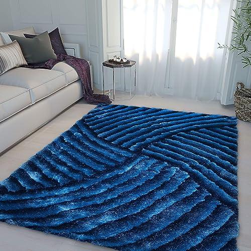 8 x10 Feet Light Blue Dark Blue Two Tone Soft 3D Shag Area Rug