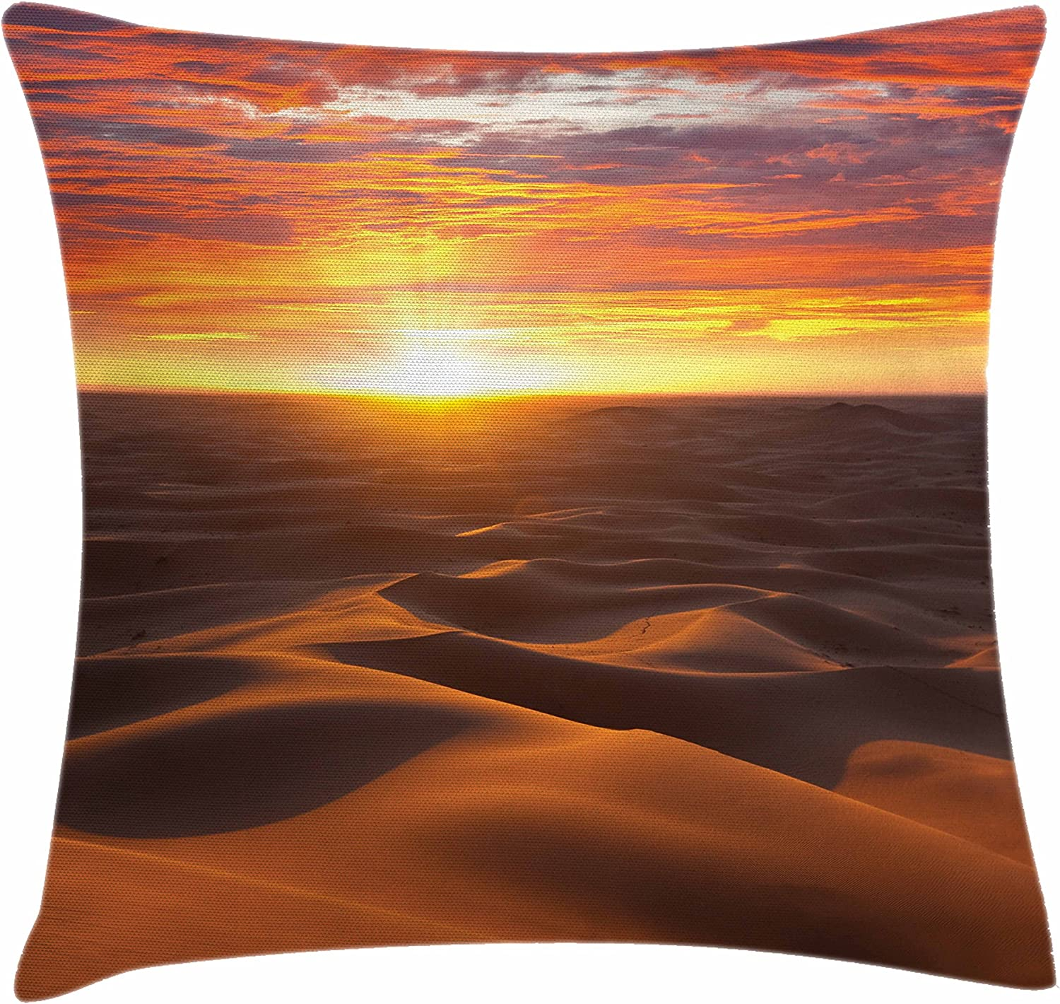 Amazon Com Ambesonne Desert Throw Pillow Cushion Cover Dramatic Sunset Scenery At Sahara Dunes Arid Landscape Morrocco Summer Nature Photo Decorative Square Accent Pillow Case 40 X 40 Multicolor Home Kitchen