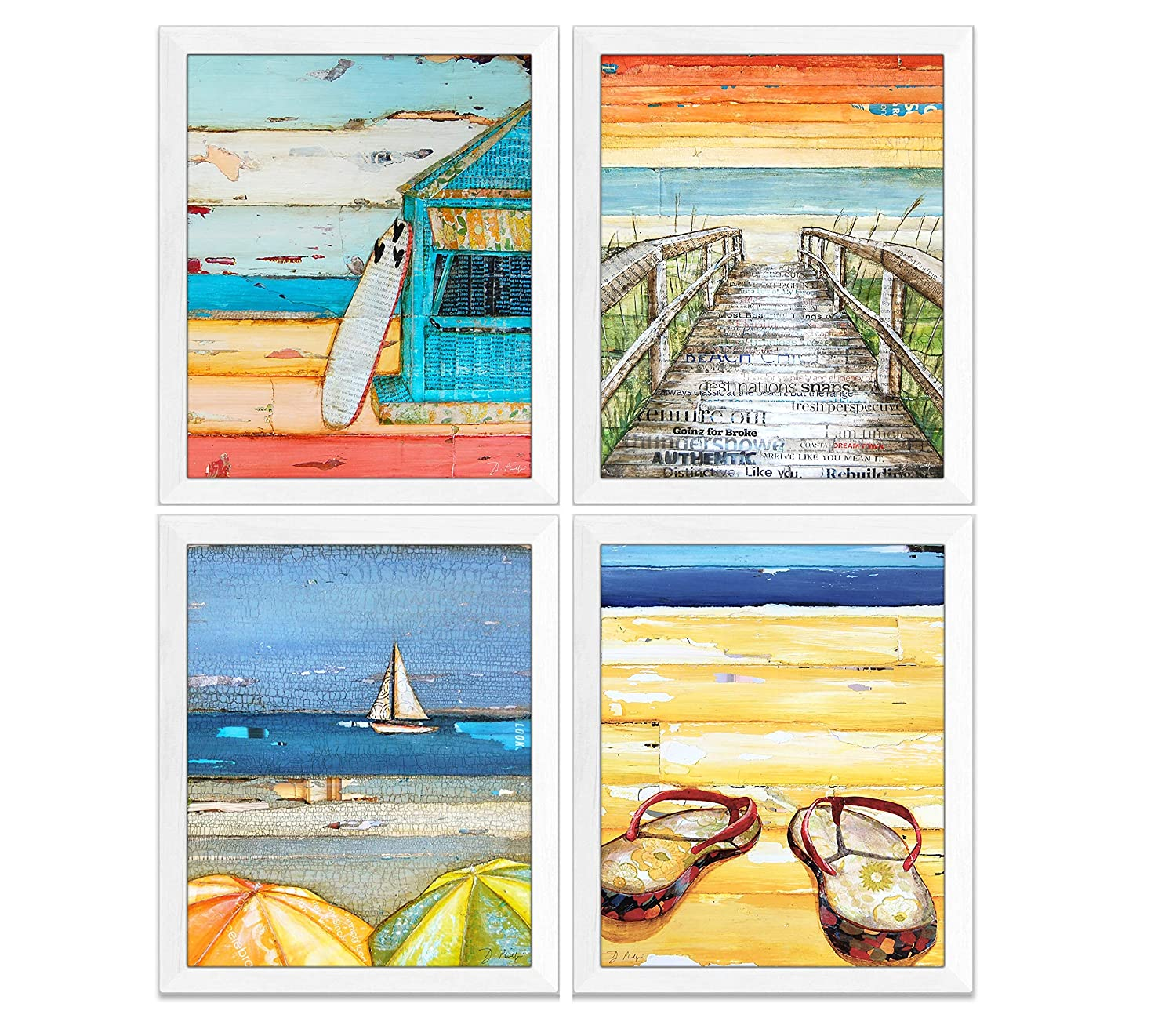 Summer Beach Art Prints, Set of 4 by Danny Phillips, Unframed, Mixed Media Collage Wall Art Decor Posters, 8x10 Inches