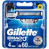 Gillette Mach3 Turbo Men's Razor Blades Refill Cartridges, 4 Pack, Mens Razors / Blades
