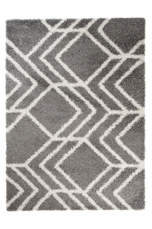 Tapiso® Art Shaggy Hochflor Teppich - Geometrische zick Zack Muster in Grau - weicher Langflor Teppich ins Wohnzimmer, Schlafzimmer und Jugendzimmer - Rechteckig 200 x 290 cm
