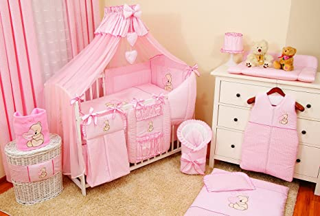 Conjunto de ropa de cama para cuna de bebé, 100% algodón, conjunto completo XXL de 18 piezas, diseño bordado de osito, incluye mosquitera rosa Rose ...