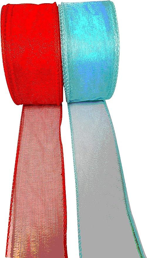 INERRA color rojo y amarillo Rollo de cinta de organza con alambre 2 rollos de 20 m