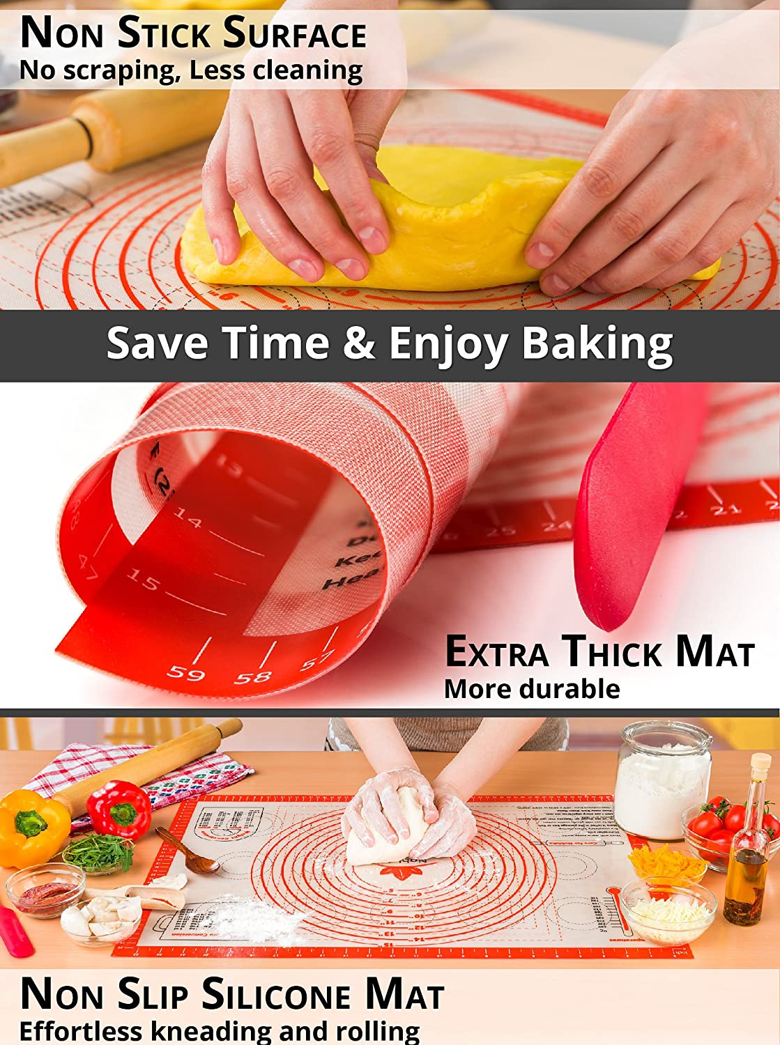 Kitchen,dining & Bar Bakeware Confident 30*40 Non-stick Silicone Baking Mats Pad Baking Sheet Glass Liners Kneading Dough Mat Pizza Cake Sugar Craft Pastry Cooking Tool Always Buy Good