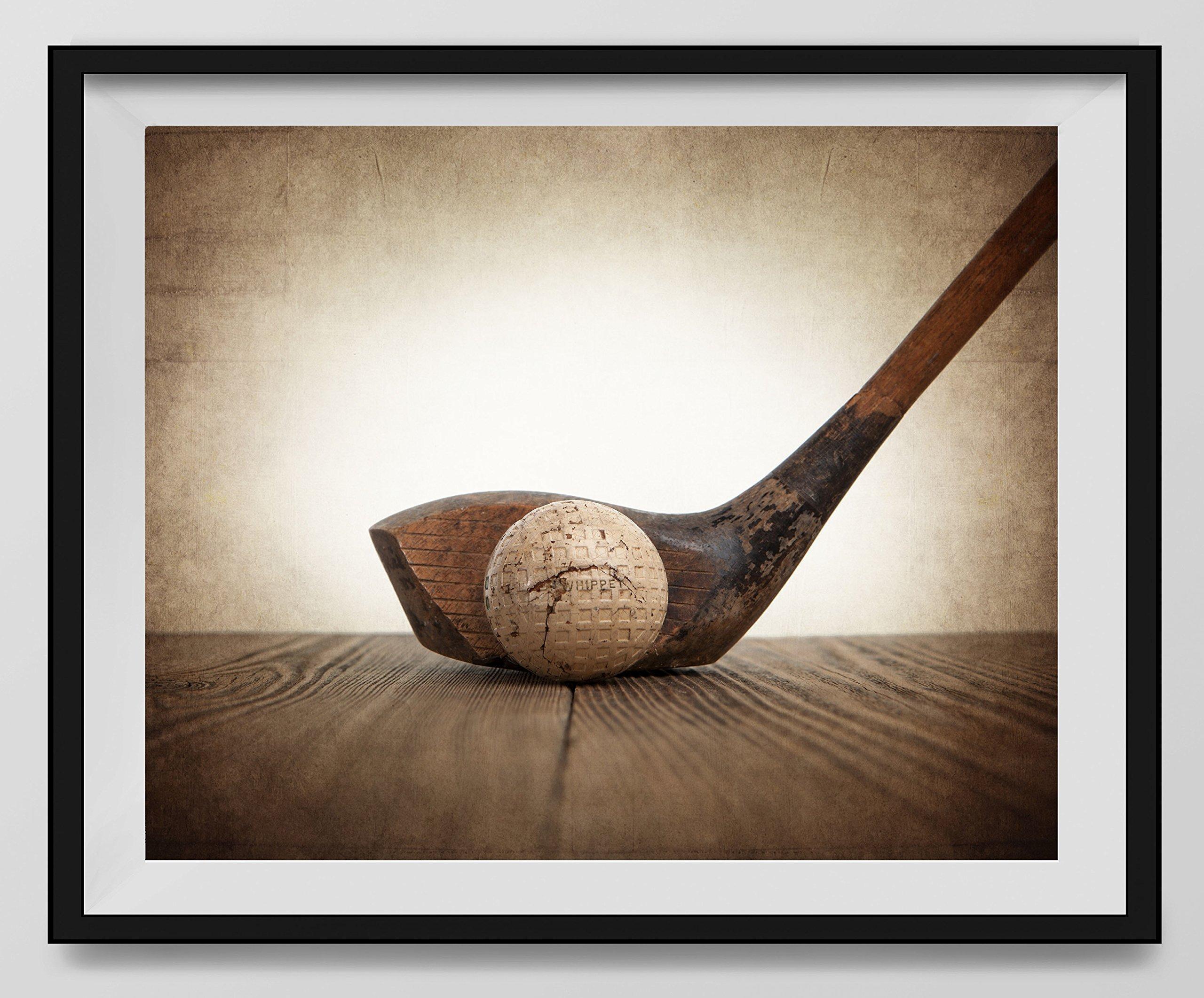 Vintage Golf Wood and Ball on Vintage Background Fine Art Photography Print, Golf Photo, Vintage Golf Artwork