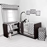 Bacati - Dots/pin Stripes Black/white 10 Pc Crib Set Including Bumper Pad
