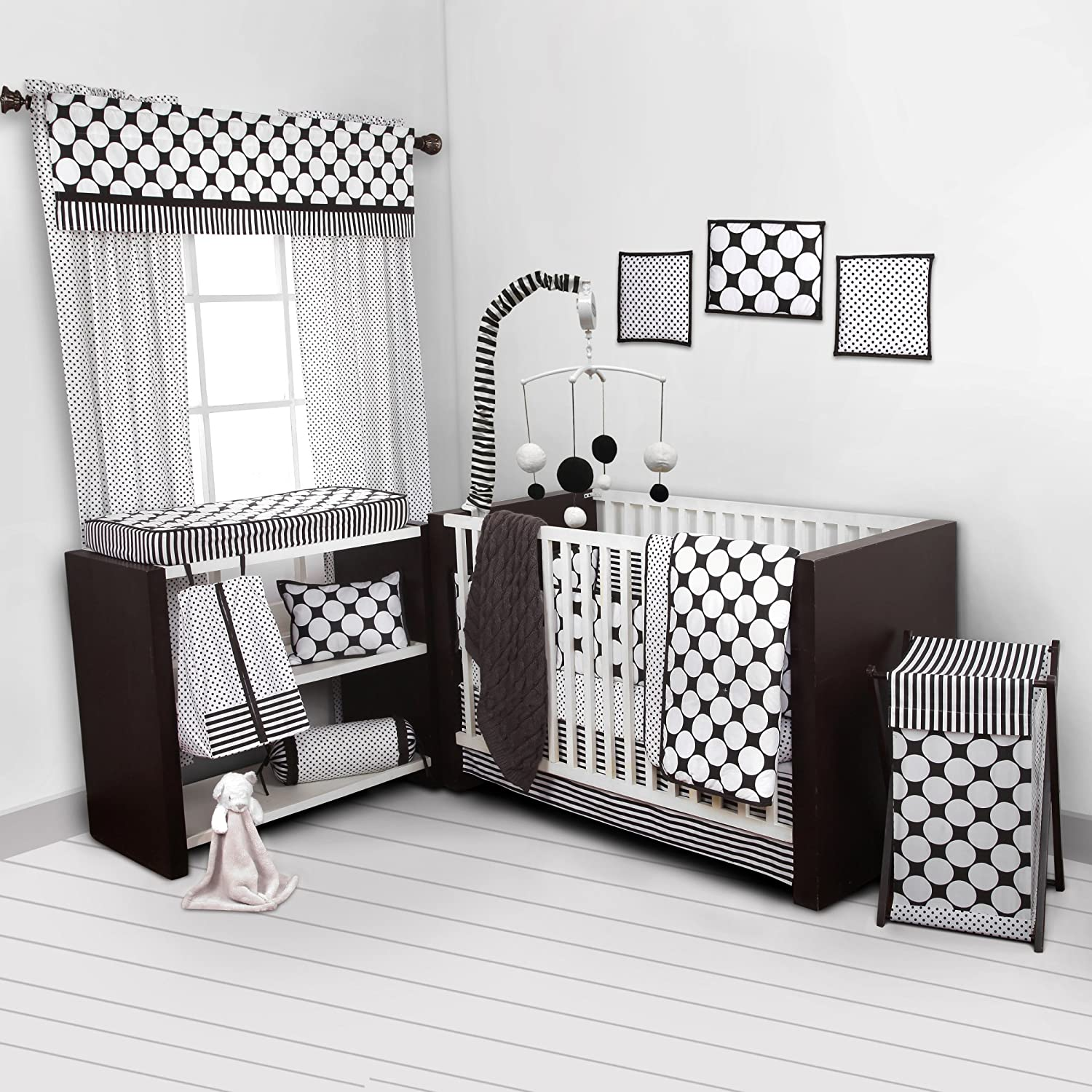 Bacati - Dots/pin Stripes Black/White 10 Pc Crib Set Including Bumper Pad 100 Percent Cotton