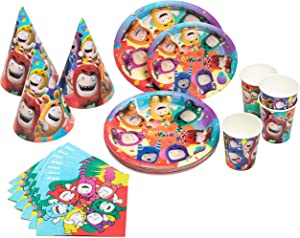 Oddbods Theme Kids Birthday Party Supplies & Decorations Set with Plates, Cups, Hats, and Napkins (80 Pieces)