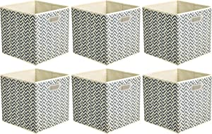 AmazonBasics Collapsible Fabric Storage Cubes with Oval Grommets - 6-Pack, Chevron - Grey