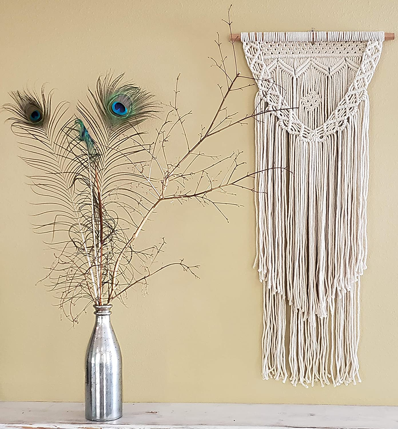 "Boho Macrame Wall Hanging Decor – Beige 16"" x 36"" Modern Bohemian Wall Art Tapestry Decor for House, Apartment, Dorm Room, Nursery, Party Decorations, Wedding, Wall Ornament"