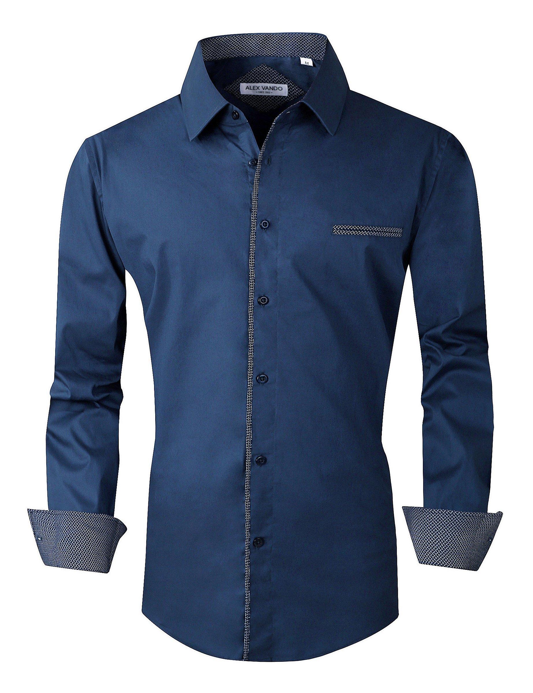 Joey CV Mens Casual Button Down Shirts Long Sleeve Regular Fit(Navy,XXLarge)