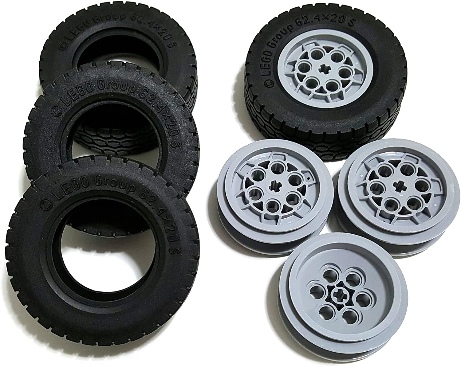 LEGO Tire Ø62.4 x 20 w/ Rim Ø 43,2 X 18 - Pack of 4 each (86652) (32019 / 75999)
